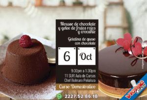 Curso Demostrativo Mousse de Chocolate con geleee de frutos rojos  y crocante / Gelatina de Queso con Chocolate
